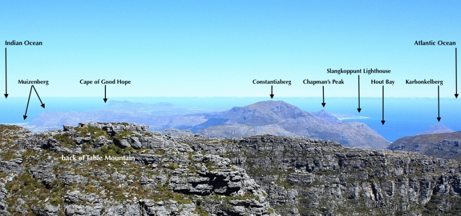View from Table Mountain, Indian Ocean, Atlantic Ocean, Muizenberg, Chapman's Peak, Hout Bay, Cape Town, South Africa