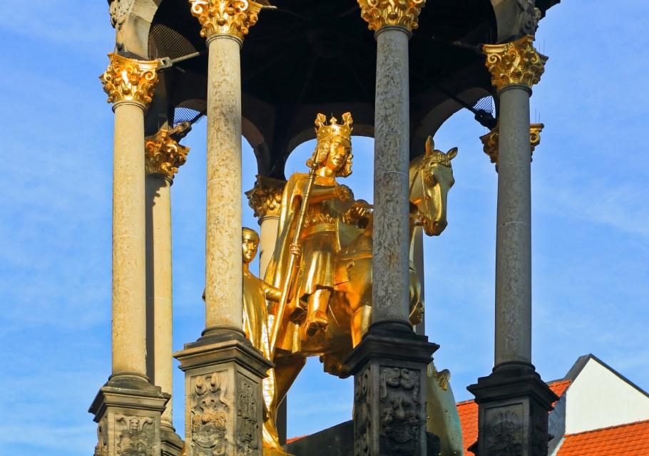 Golden Rider, Magdeburger Reiter, Alter Markt, Old Market, Romanesque Road, Strasse der Romanik, Magdeburg, Sachsen-Anhalt, Saxony Anhalt, Germany, Deutschland,  fotoeins.com