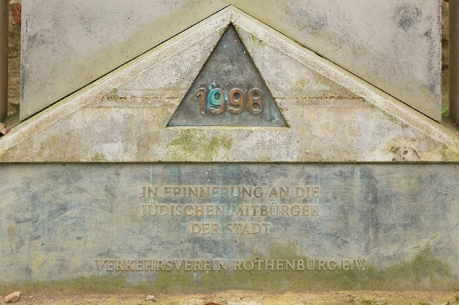 Pogrom-Gedenkstein,  Burggarten, Altstadt, Rothenburg ob der Tauber, Germany, fotoeins.com