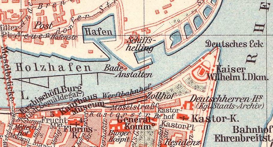 Stadtplan von Koblenz von 1905