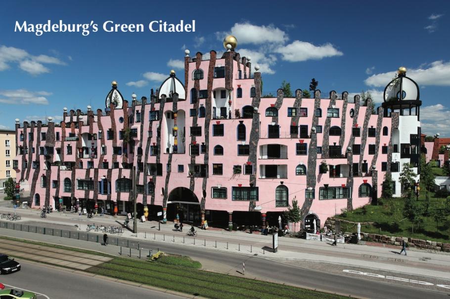 Green Citadel, Grüne Zitadelle, photo by Andreas Lander, Magdeburg Tourism MMKT, Hundertwasser, Magdeburg, Sachsen-Anhalt, Saxony-Anhalt, Germany, fotoeins.com