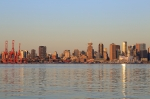 First light, Canada Day, Downtown Vancouver, Burrard Inlet, Salish Sea, Burrard Dry Dock Pier, North Vancouver, BC, Canada, fotoeins.com