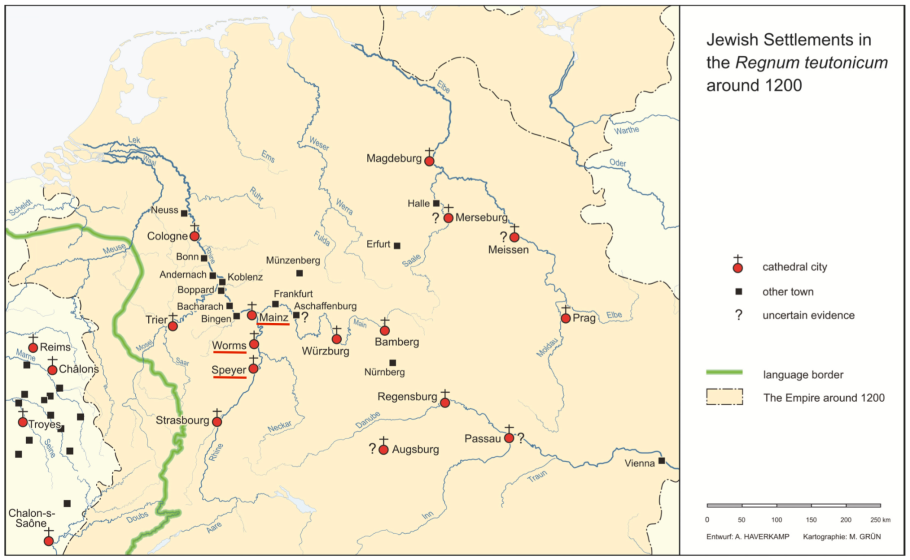 Jewish Settlements in the Regnum teutonicum (c. 1200 AD/CE), by Haverkamp and Gruen