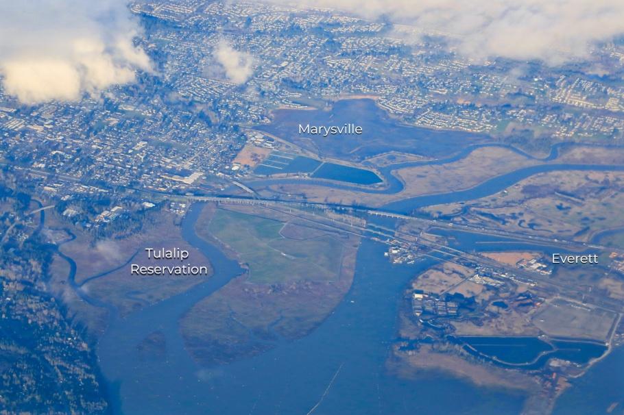 Snohomish river, Possession Sound, Puget Sound, Salish Sea, Tulalip, Tulalip Reservation, Marysville, Everett, Washington, USA, fotoeins.com