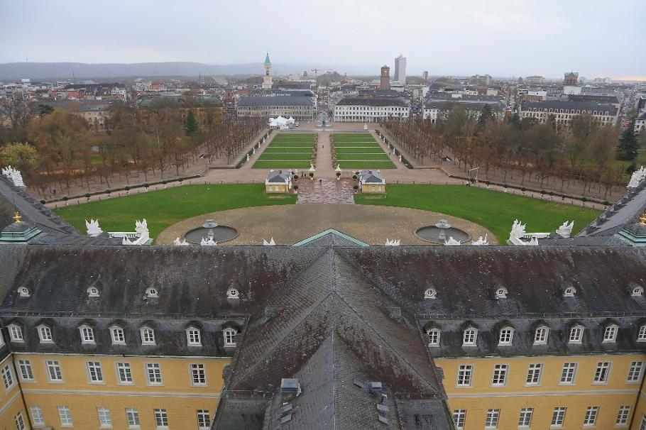 City view, Schlossturm, Schloss Karlsruhe, Karlsruhe, Baden-Wuerttemberg, Germany, fotoeins.com