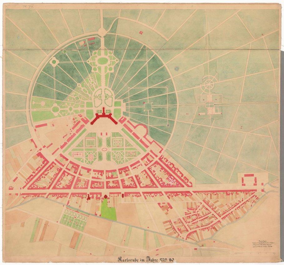 Historische Stadtpläne, Bilderbogen, Stadt Karlsruhe