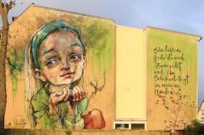 Patience and hope, wall mural, Herakut, Lutherstadt Wittenberg, Wittenberg, Saxony-Anhalt, Germany, fotoeins.com