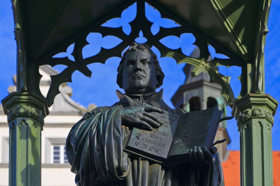 Martin Luther, Reformation, German Reformation, Wittenberg, Marktplatz, Saxony-Anhalt, Sachsen-Anhalt, Germany, Deutschland, fotoeins.com