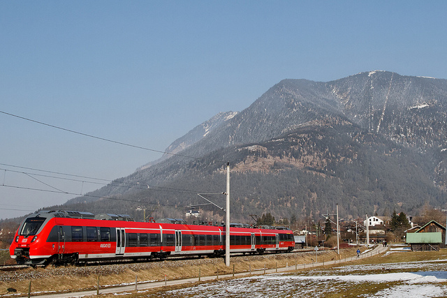 Regional train heading west from Garmisch-Partenkirchen. Photo by Christian Allinger (CC BY 2.0).