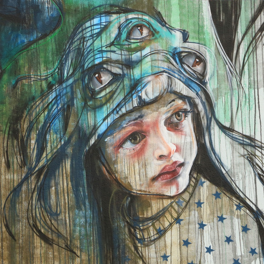 street art, mural, Herakut, Metropolink, Heidelberg, Germany, fotoeins.com