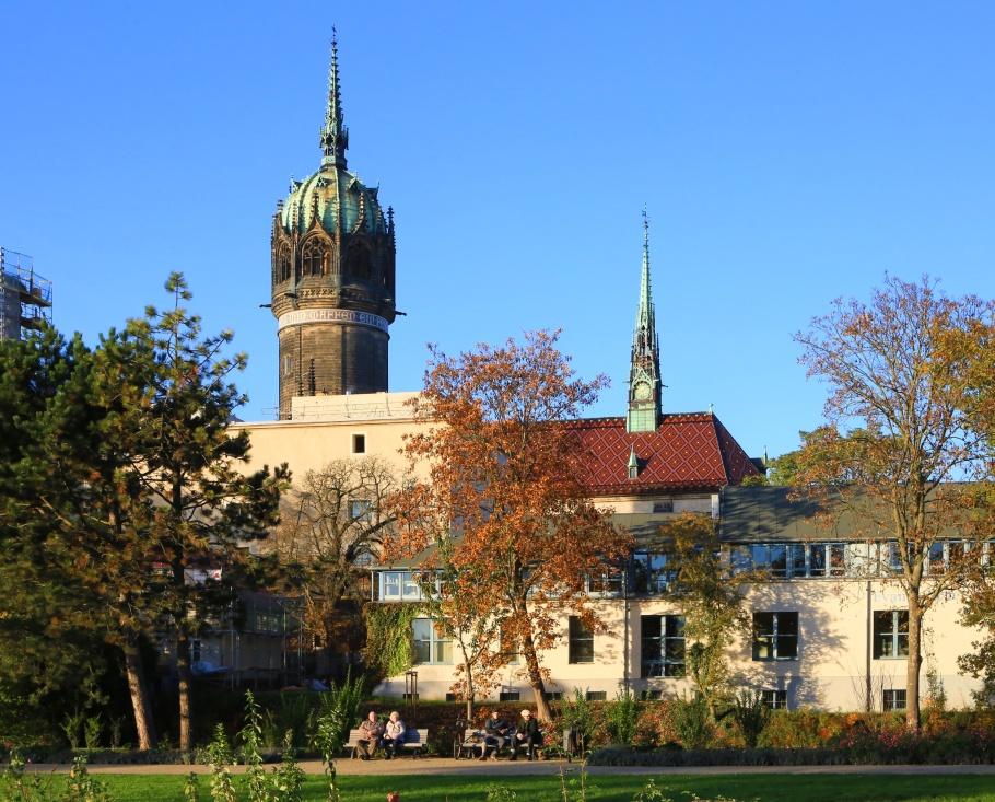 Schlosskirche, Luthergarten, Lutherstadt Wittenberg, Wittenberg, Saxony-Anhalt, Sachsen-Anhalt, Germany, fotoeins.com
