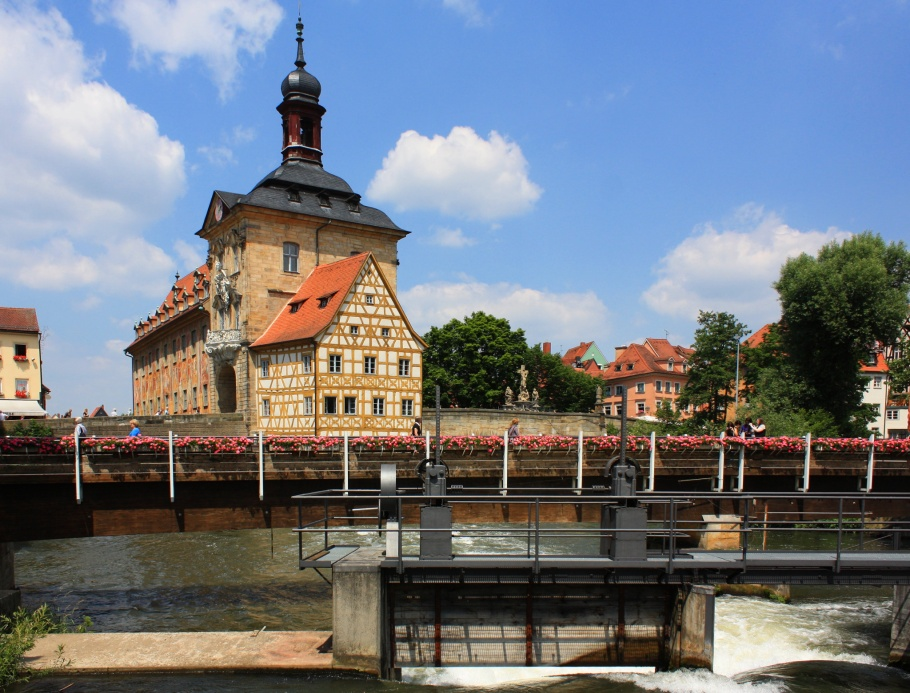 Rathausinsel, Obere Brücke, Geyerswörthsteg, Untere Mühlbrücke, Linker Regnitzarm, Regnitz river, Bamberg, Bayern, Bavaria, Germany, UNESCO World Heritage Site, fotoeins.com