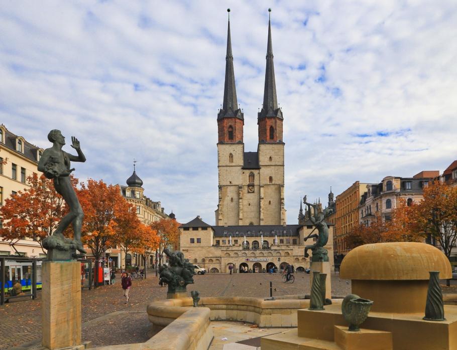 Hallmarkt, Göbelbrunnen, Halle an der Saale, Halle, Saale river, Saale, Sachsen-Anhalt, Saxony-Anhalt, Cultural Heart of Germany, Germany, fotoeins.com