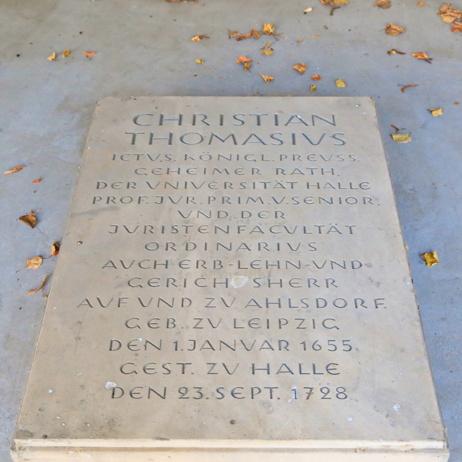 Christian Thomasius, Stadtgottesacker cemetery, Halle an der Saale, Halle, Saale river, Saale, Sachsen-Anhalt, Saxony-Anhalt, Cultural Heart of Germany, Germany, fotoeins.com