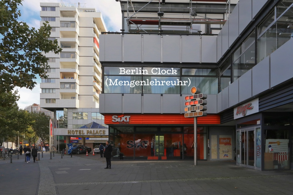 Mengenlehreuhr, set theory clock, Berliner Uhr, Berlin Clock, Sixt, Europa-Center, Budapester Strasse, Charlottenburg, Berlin, Hauptstadt, Germany, fotoeins.com