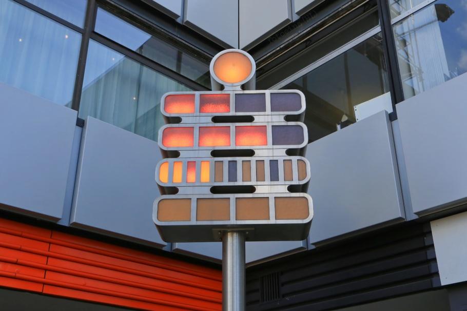 Mengenlehreuhr, set theory clock, Berliner Uhr, Berlin Clock, Sixt,  Europa-Center, Budapester Strasse, Charlottenburg, Berlin, Hauptstadt, Germany, fotoeins.com