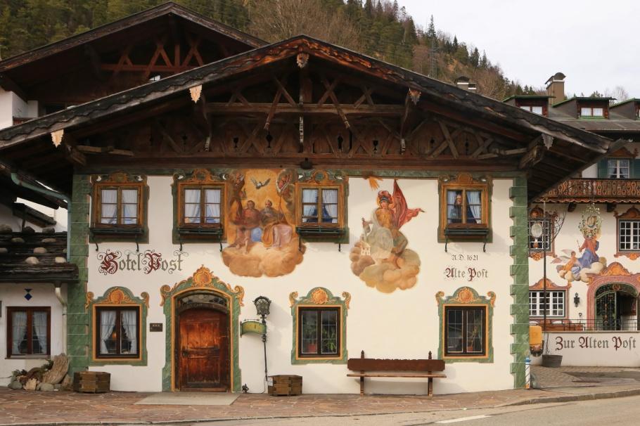 Hotel Zur Post, Wallgau, Isartal, Lüftlmalerei, Mittenwald, Bayern, Bavaria, Germany, fotoeins.com