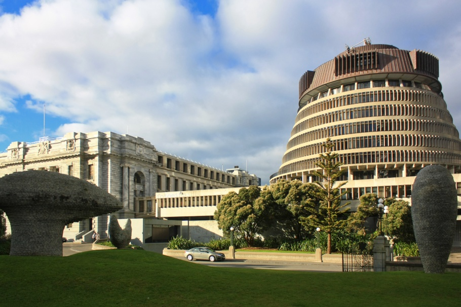 National Parliament, Beehive, Kaiwhakatere The Navigator, Wellington, North Island, Te Ika a Maui, Aotearoa, New Zealand, fotoeins.com