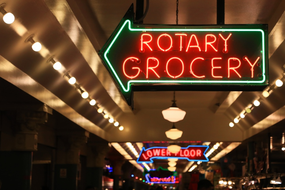 Rotary Grocery, neon sign, Pike Place Market, Seattle, WA, USA, fotoeins.com