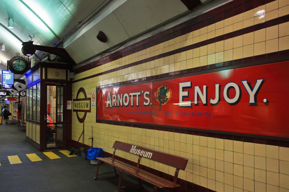 Arnott's advertisement, Museum station, Sydney, Australia, fotoeins.com