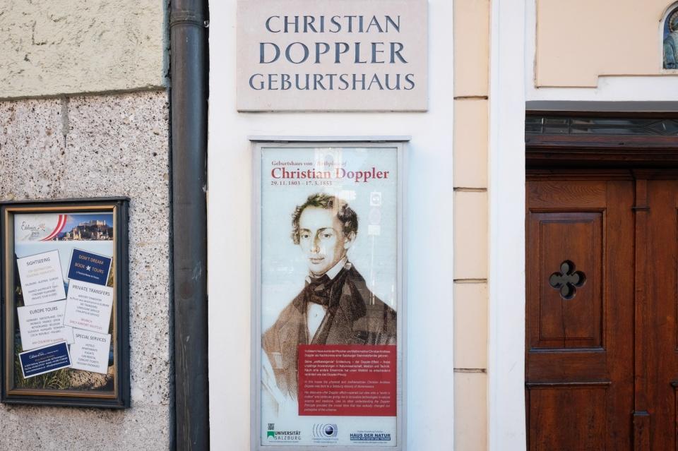 Christian Doppler, Doppler birth house, Dopplers Geburtshaus, Salzburg, Austria, Oesterreich, fotoeins.com