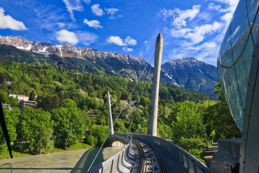 Hungerburgbahn, bridge, Inn river, Innsbruck, Tirol, Tyrol, Oesterreich, Austria, fotoeins.com