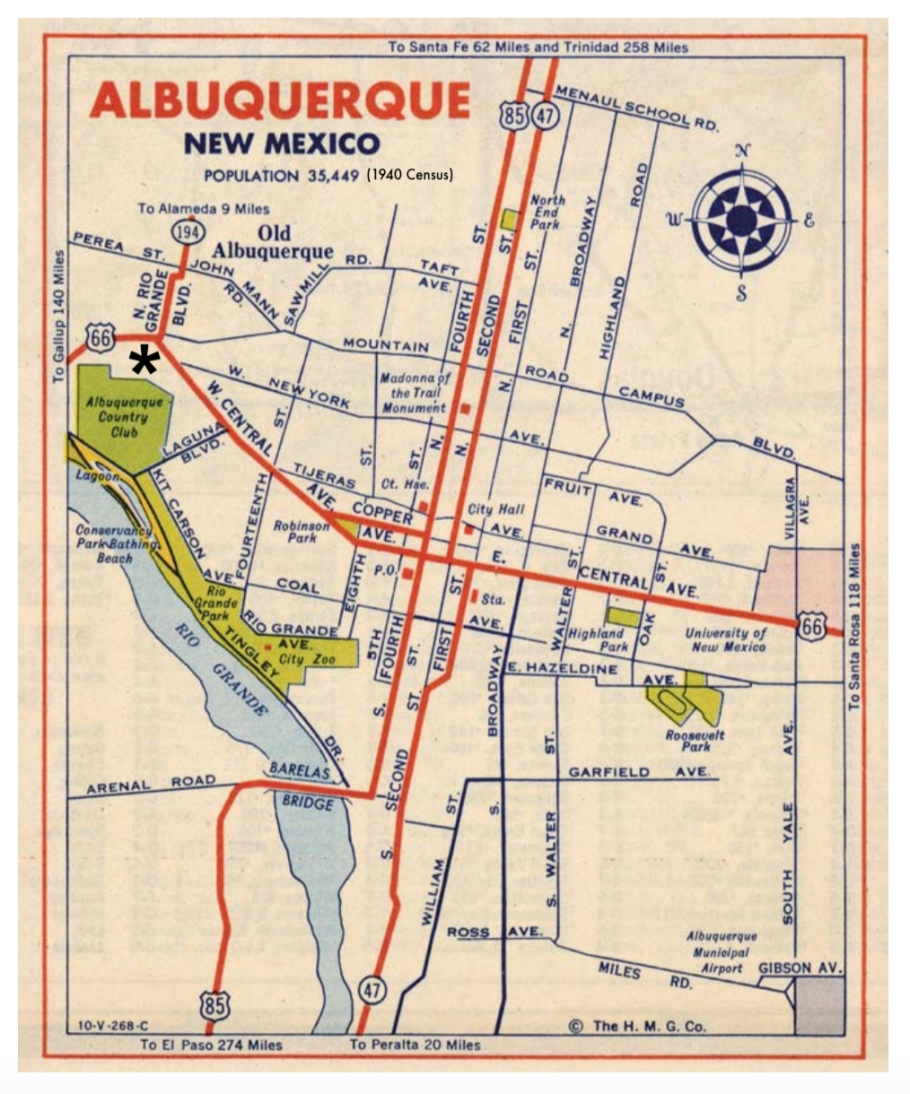 Albuquerque, 1940s driving map, US 66, US route 66, New Mexico, USA, fotoeins.com