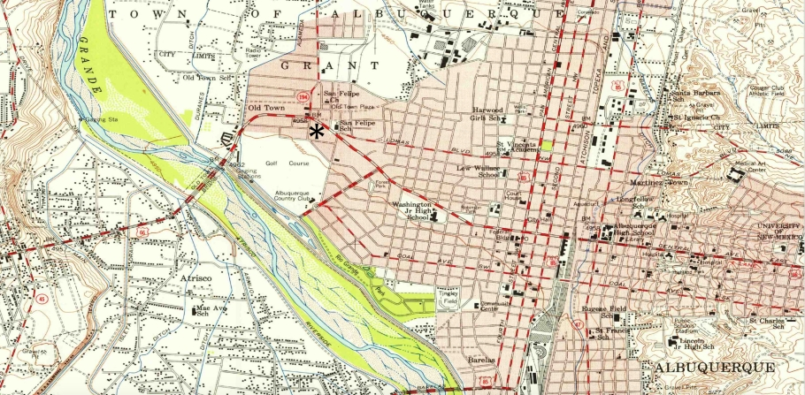 Albuquerque, 1954 USGS map, US Geological Survey, US 66, US route 66, New Mexico, USA, fotoeins.com
