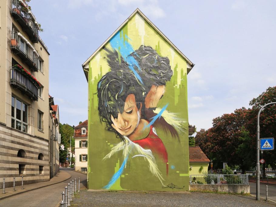 Daniel Thouw, Wandkunst, wall mural, street art, Neuenheimer Uferstrasse, Uferstrasse, Neuenheim, Heidelberg, Baden-Württemberg, Germany, Deutschland, fotoeins.com
