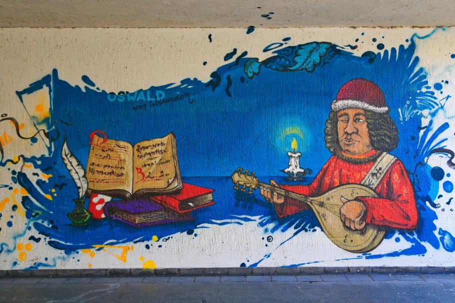 Oswald von Wolkenstein, Graffiti fürs Konziljubiläum, Emin Hasirci, Alte-Rheinbrücke, Konstanz, Constance, Baden-Württemberg, Germany, Deutschland, fotoeins.com