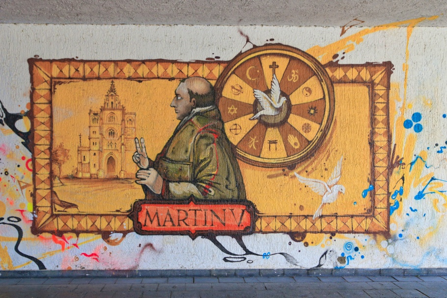 Pope Martin V, Graffiti fürs Konziljubiläum, Emin Hasirci, Alte-Rheinbrücke, Konstanz, Constance, Baden-Württemberg, Germany, Deutschland, fotoeins.com