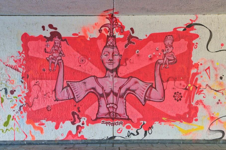Imperia, Graffiti fürs Konziljubiläum, Emin Hasirci, Alte-Rheinbrücke, Konstanz, Constance, Baden-Württemberg, Germany, Deutschland, fotoeins.com