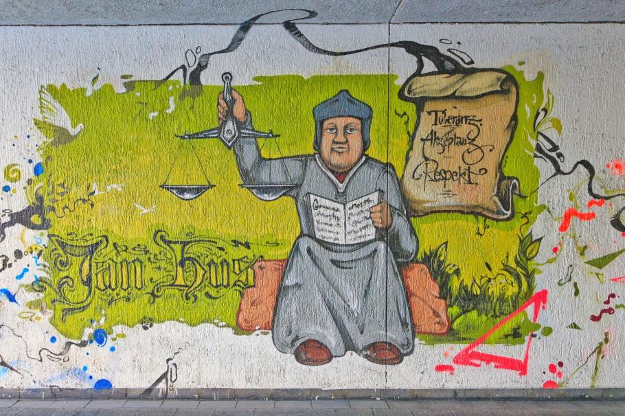 Jan Hus, John Huss, Bohemian, Bohemian Reformation, Council of Constance, Graffiti fürs Konziljubiläum, Emin Hasirci, Alte-Rheinbrücke, Konstanz, Constance, Baden-Württemberg, Germany, Deutschland, fotoeins.com