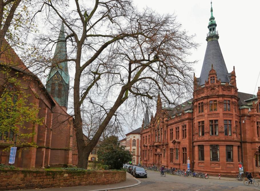 Grabengasse, Peterskirche, Unibibliothek, Universitätsbibliothek, Universität Heidelberg, Heidelberg, Baden-Württemberg, Germany, Deutschland, fotoeins.com