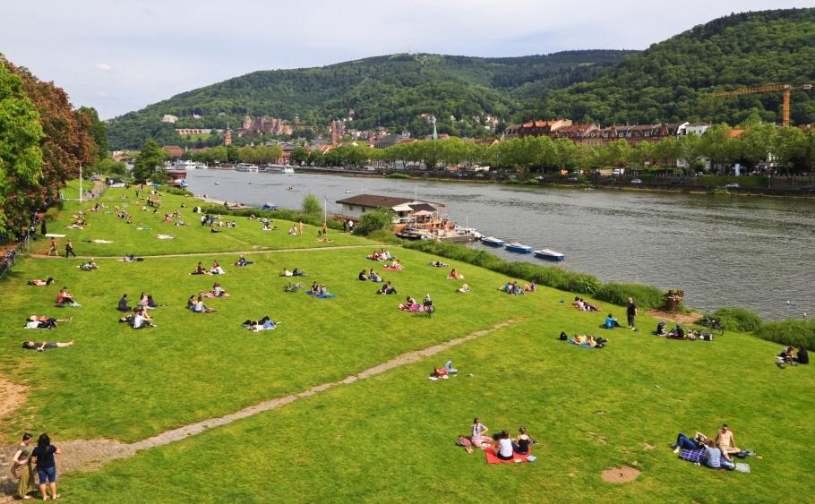 Neckarwiese, Neuenheim, Neckar river, Neckar, Heidelberg, Baden-Württemberg, Germany, Deutschland, fotoeins.com