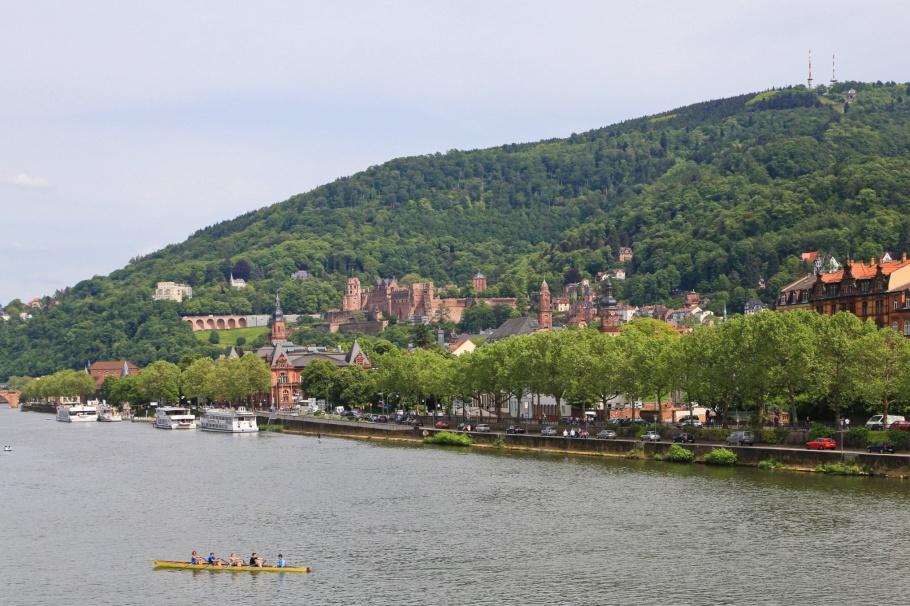 Königstuhl, Theodor-Heuss-Brücke, Neckar, Neckar river, Heidelberg, Baden-Württemberg, Germany, Deutschland, fotoeins.com