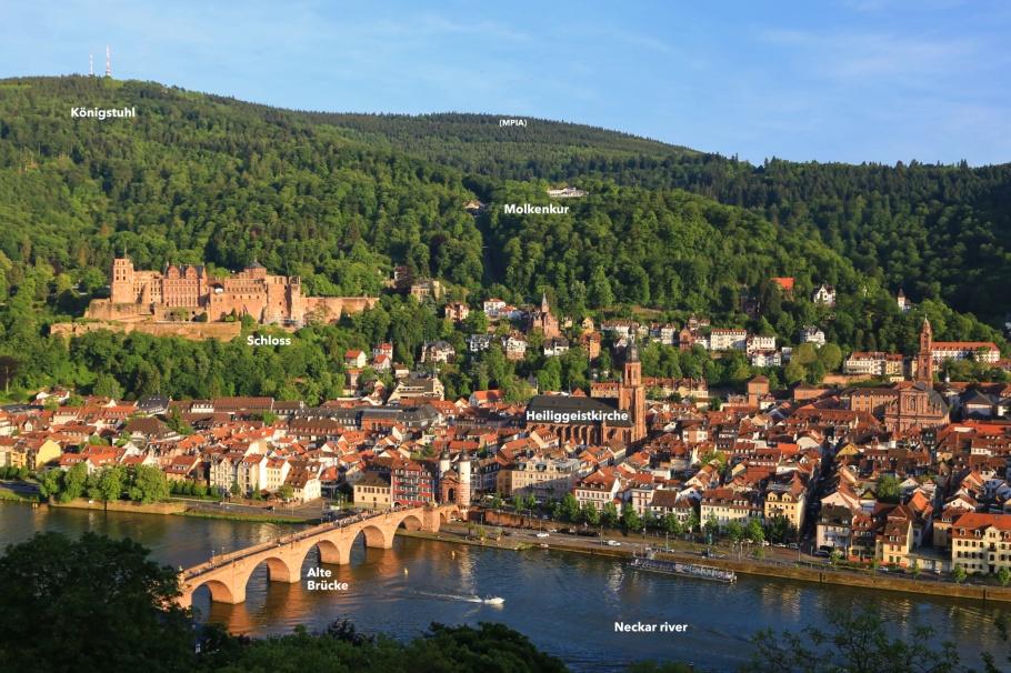 Heidelberger Altstadt, Philosophenweg, Königstuhl, Schloss Heidelberg, Alte Brücke, Heiligenkirche, Altstadt, Neckar, Neckar river, Heidelberg, Baden-Württemberg, Germany, Deutschland, fotoeins.com
