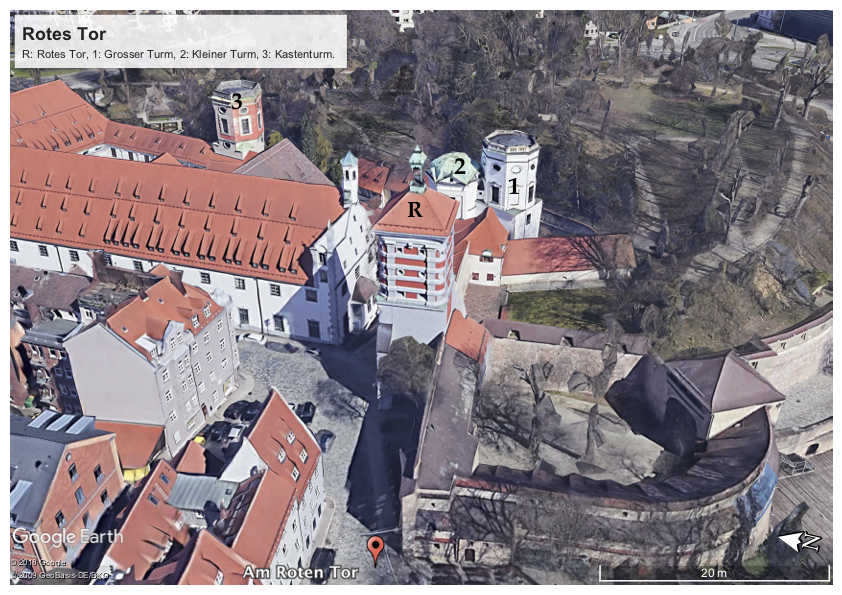 Rotes Tor, Augsburg, Germany, Google Earth