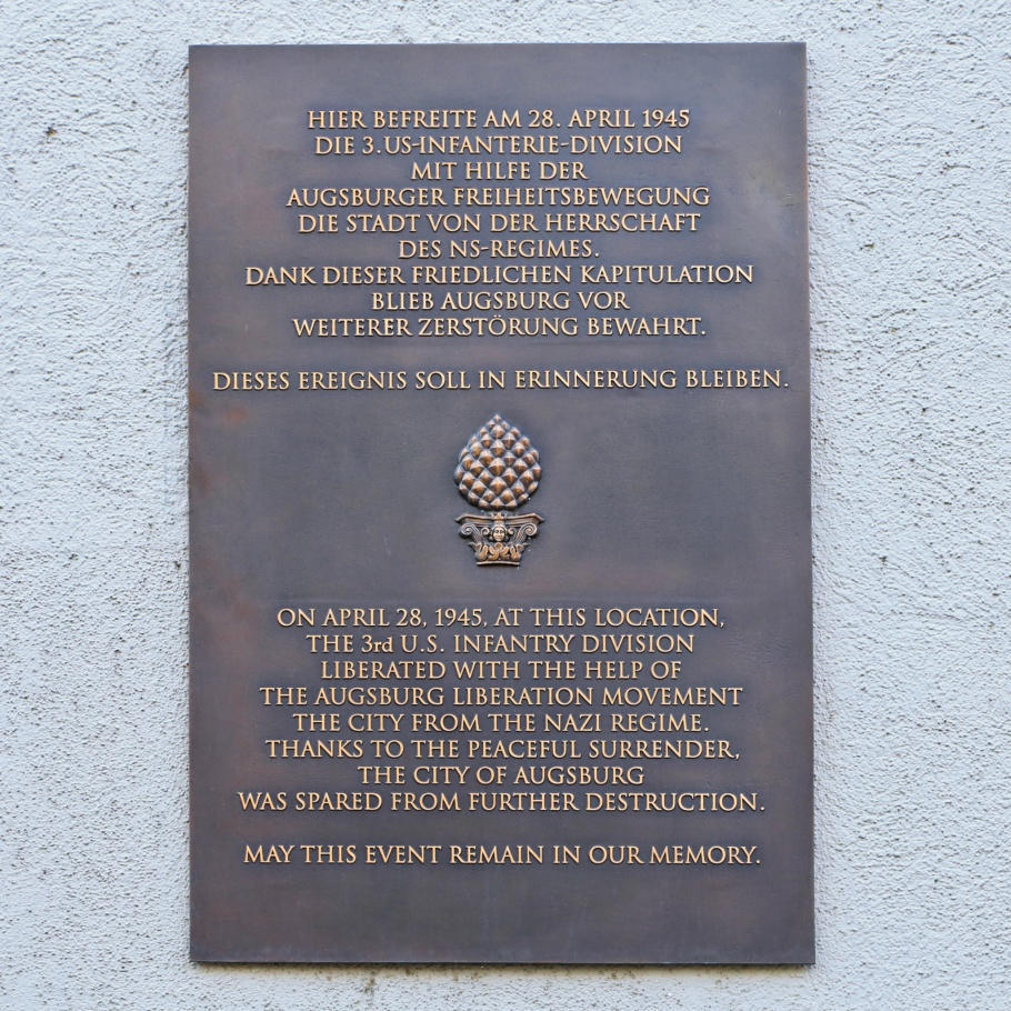 World War 2, liberation, memorial plaque, Augsburg, Bayern, Bavaria, Schwaben, Swabia, Germany, Deutschland, fotoeins.com