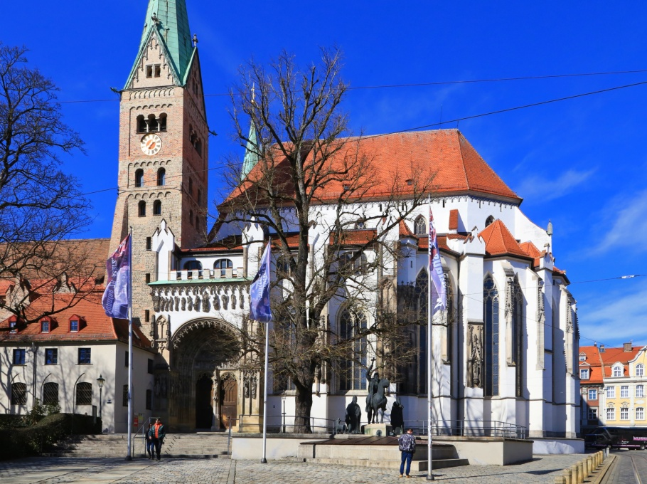 Domplatz, Hoher Dom zu Augsburg, Augsburger Dom, Augsburg, Bayern, Bavaria, Germany, Deutschland, fotoeins.com
