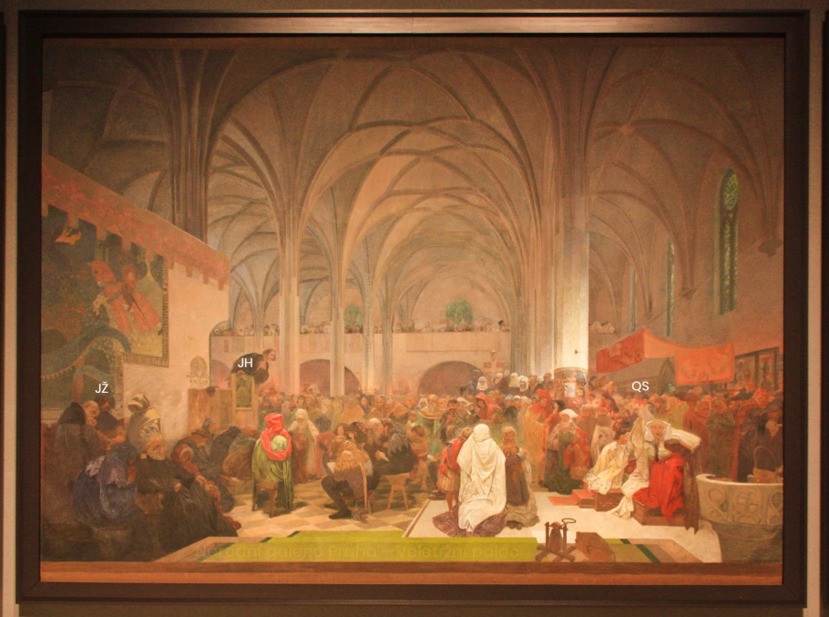 Alfons Mucha, The Slav Epic, Master Jan Hus Preaching at the Bethlehem Chapel: Truth Prevails, Národní galerie Praha, Veletržní palác, Praha, Prague, Czech Republic, fotoeins.com