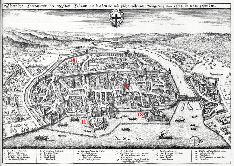 Costantz (1633), Topographia Sueviae (1643), Matthäus Merian, Martin Zeiller, Konstanz, Baden-Württemberg, Germany, Deutschland, fotoeins.com