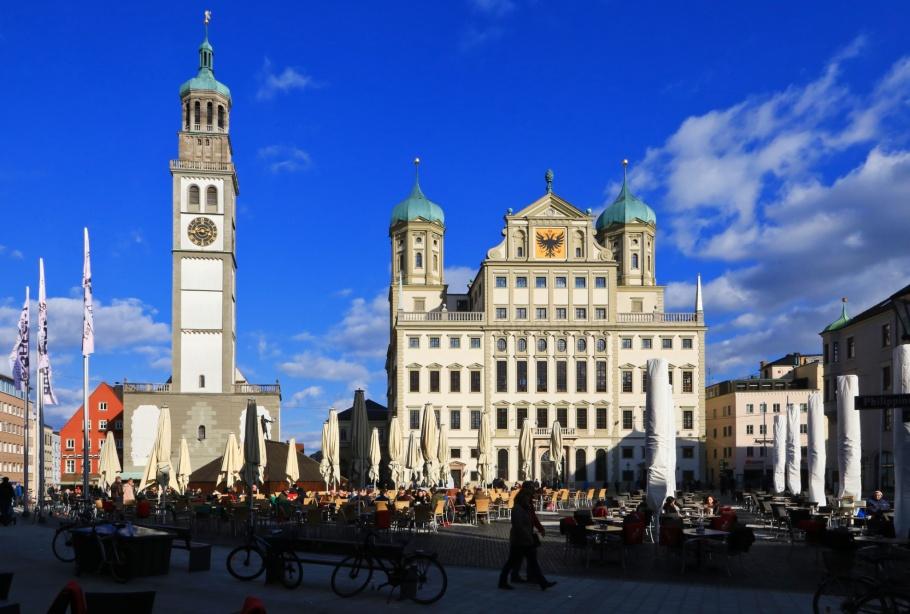 Rathausplatz, Perlachturm, Rathaus, Augsburg, Schwaben, Swabia, Bavaria, Bayern, Germany, fotoeins.com