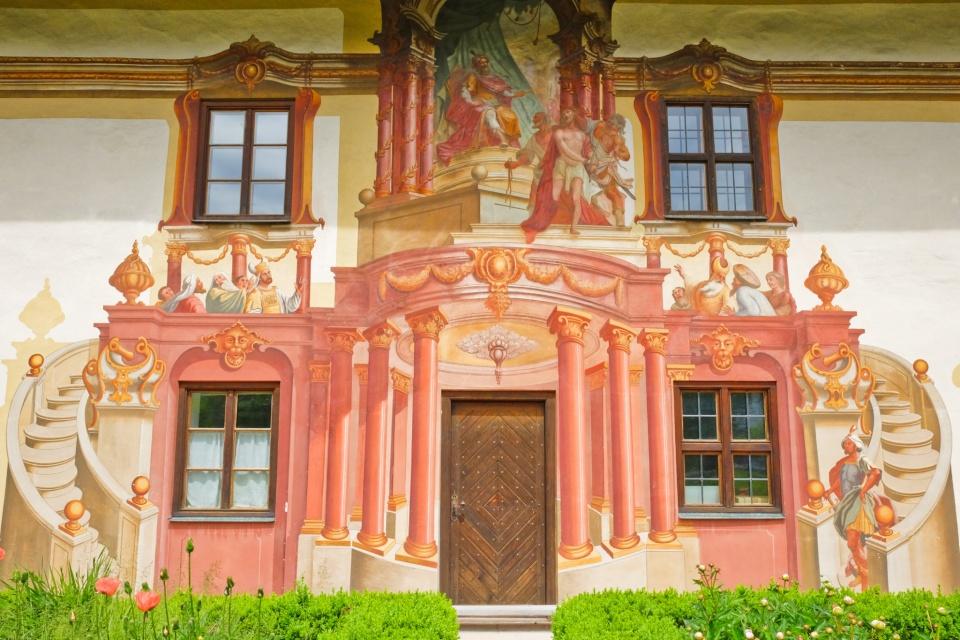 Pilatushaus, Lüftlmalerei, Oberammergau, Oberbayern, Upper Bavaria, Bayern, Bavaria, Germany, fotoeins.com