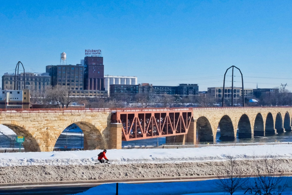 Stone Arch Bridge, Central Mississippi Riverfront Regional Park, Minneapolis, Twin Cities, Minnesota, USA, fotoeins.com