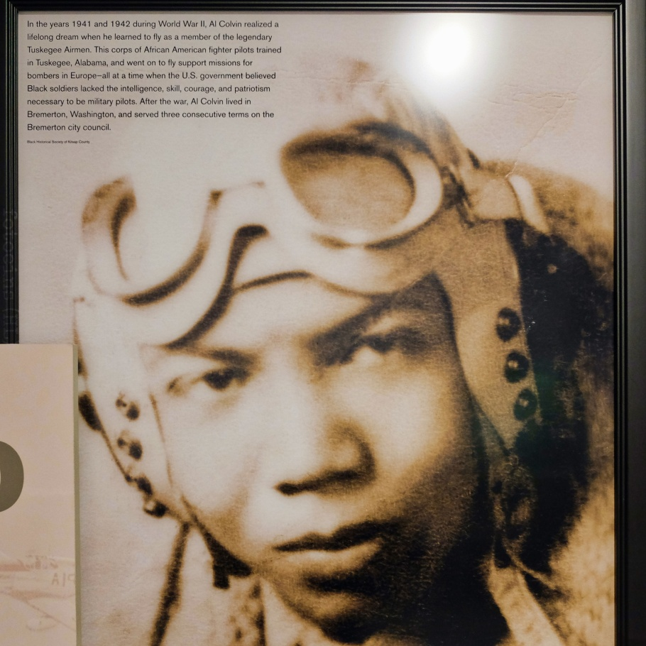 Black Americans, World War 2, Al Colvin, Tuskegee Airmen, Northwest African American Museum, Colman School, Jimi Hendrix Park, Central District, Seattle, WA, USA, fotoeins.com