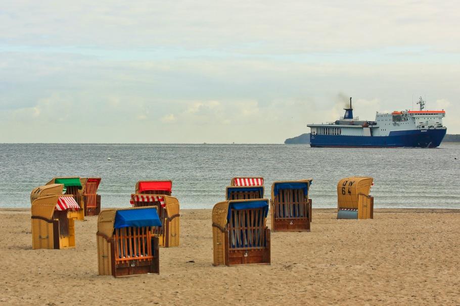 Travemünde Strand, Strandkorb, Strand, beach, Travemünde, Trave river, Baltic Sea, Ostsee, Lübeck, Schleswig-Holstein, Germany, Deutschland, fotoeins.com