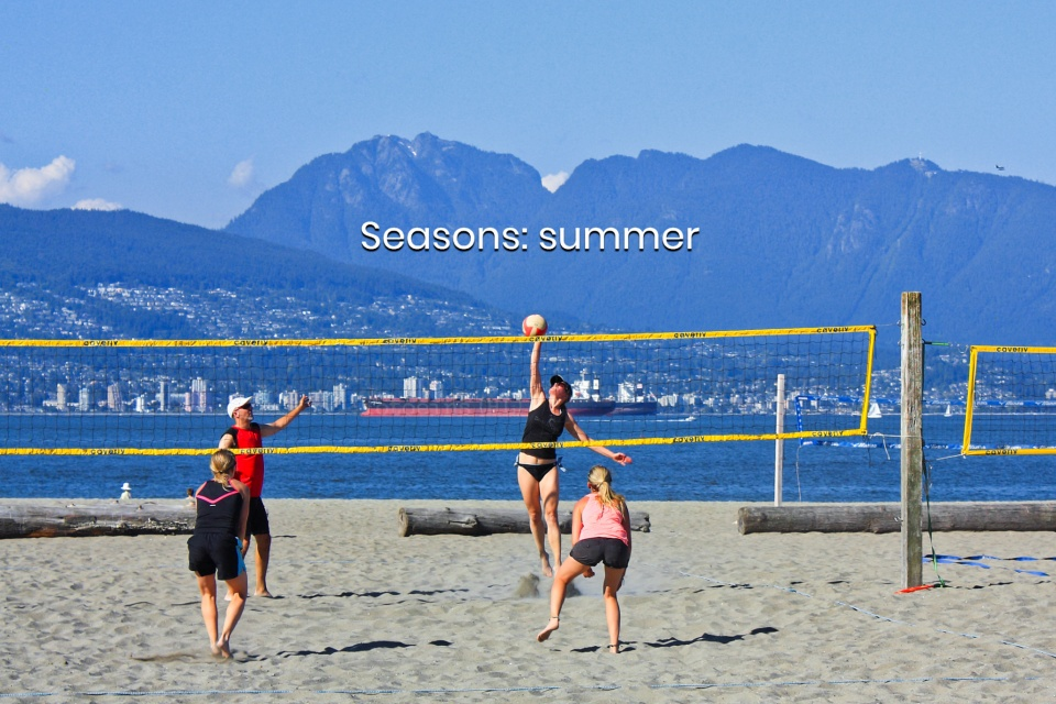 Two vs. two volleyball, Spanish Banks East, Spanish Banks, English Bay, Salish Sea, Vancouver, BC, Canada, fotoeins.com