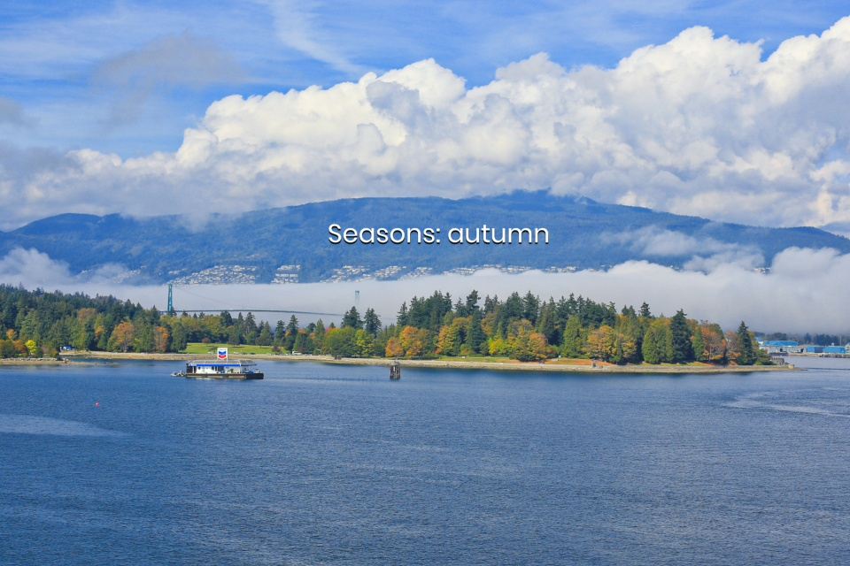 Autumn fog, Salish Sea, First Narrows, Stanley Park, Burrard Inlet, Lions Gate Bridge, Vancouver, BC, Canada, fotoeins.com