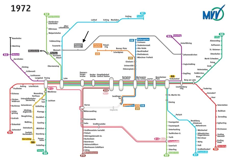 MVV 1972 Schnellbahnnetz